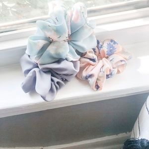 Boho Hair Scrunchies Set Of 3 *